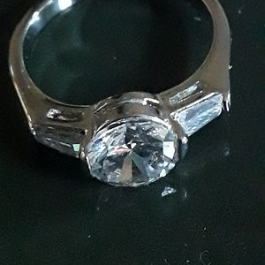 Size 9.5 CZ white gold plated engagement ring